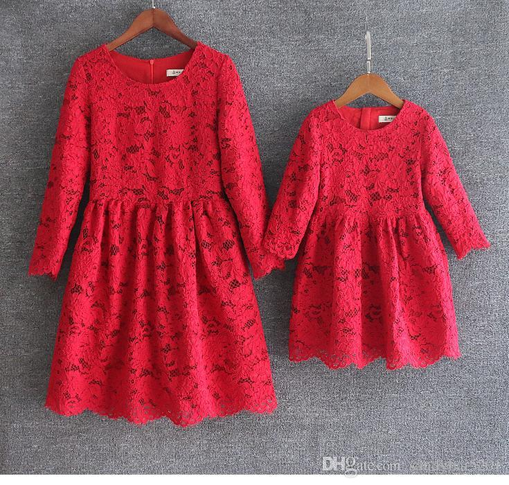 4 Colors Mother Daughter Dresses European style Mom and Me Lace Matching Dress Mother and Maughter Clothes for Party Christmas Gifts S071