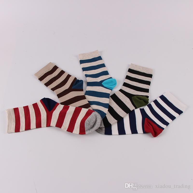 New 5-color mixed suit Fashion Men's Long Striped Sock For Men Compression Socks Calcetines Business Dress Socks meias masculinas Chaussette