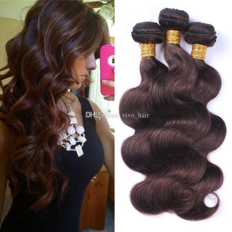 "Dark Brown Body Wave Virgin Hair 3 Bundles 10""-30"" Colored #2 Chocolate Brown Peruvian Human Hair Weaves 3Pcs/Lot Hair Extensions"