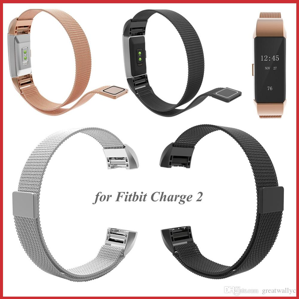 Magnetic Milanese Loop Stainless Steel Wristwatch Band Strap For Fitbit Charge 2