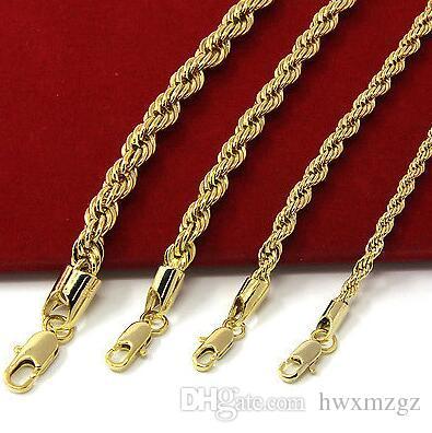 Collana con catena a maglie di corda in acciaio placcato oro giallo 14 kt
