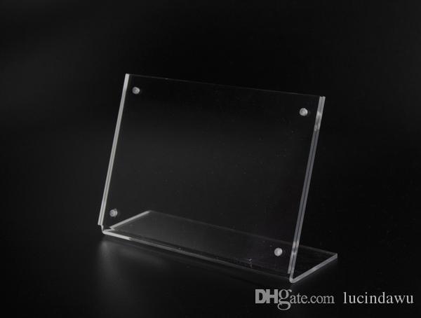 6 * 9cm aufrecht L klar Acryl magnetisch Etikettenhalter Stand Poster Banner Menüliste Rahmen Werbung Zeichen Clip Display