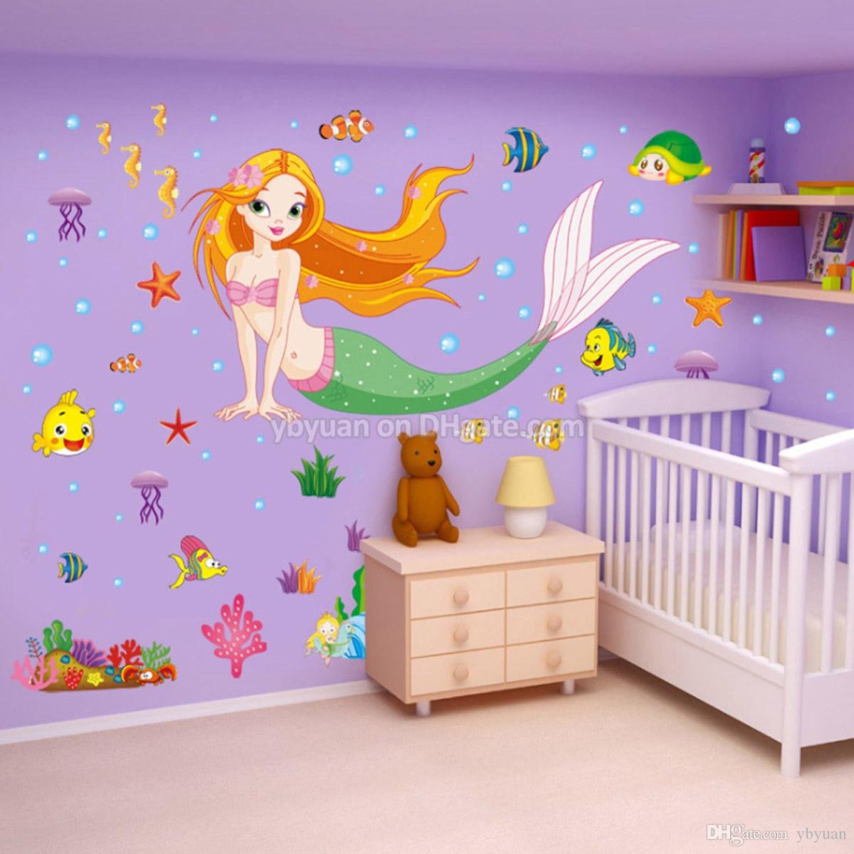 Removable Mermaid Wall Decals Flatfish Stickers Children Living Room Turtle  Sticker TV Background Jellyfish Sticker Kids Bedroom Decoration Shop Wall  ...