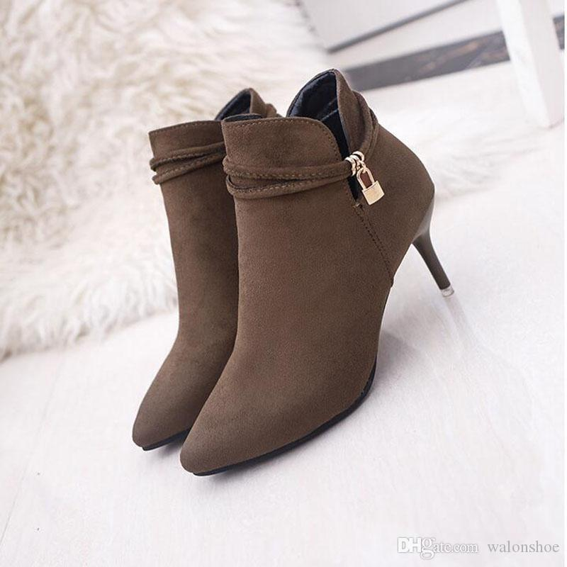 Sexy Frauen Stiefel Solid Flock Wildleder High Heels Stiefel 6cm Ferse Lady Stiletto Spitz Toe Ankle Boots Martin Boot Braun Schwarz