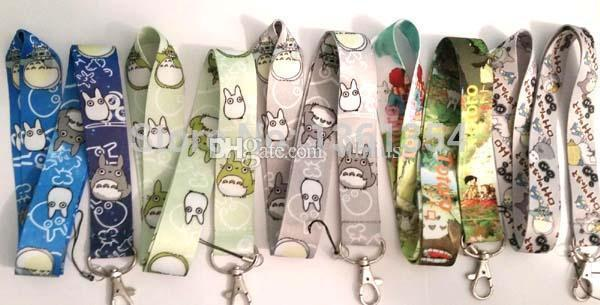 Wholesale 50pcs Mix My Neighbor Totoro Neck Strap Lanyard Keychain Phone Camera ID Card Key Badge Holder New mixed colors