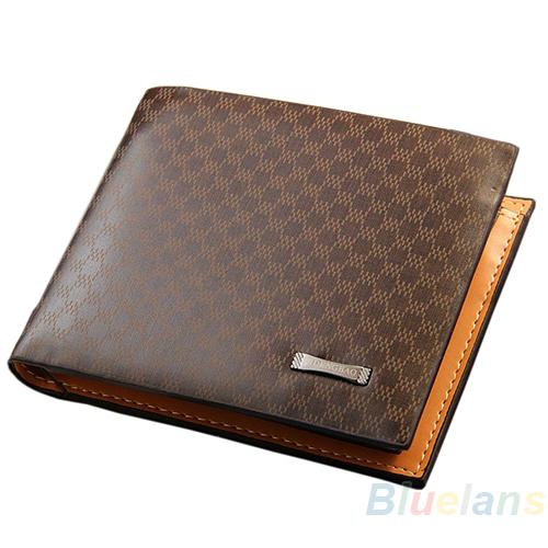 Venda por atacado - Novos e elegantes homens clássicos de couro PU The Look Carteira Bolsos Card Collector Bifold Purse Bag 02ND 4OGD