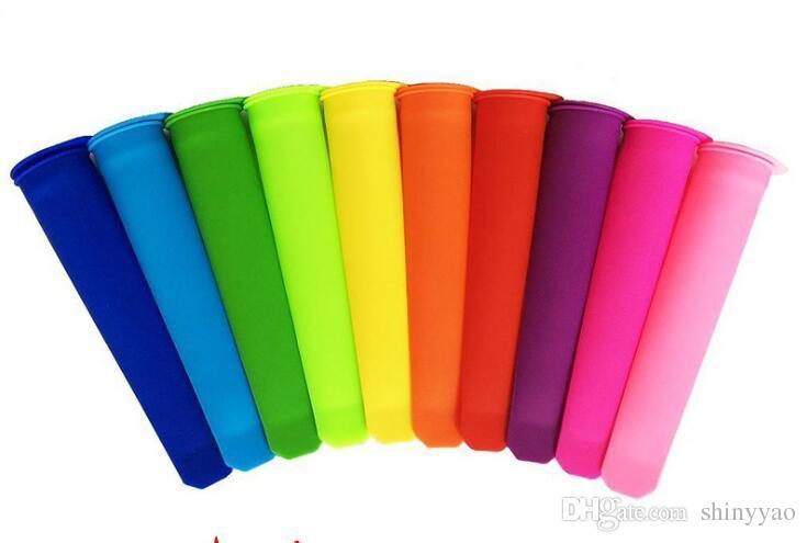 Frete grátis Alta Qualidade Amigável FDA Silicone Ice Pop Makers Moldes 20 cm (0.79 polegada) Comprimento / Picolé Moldes 10 cor escolher