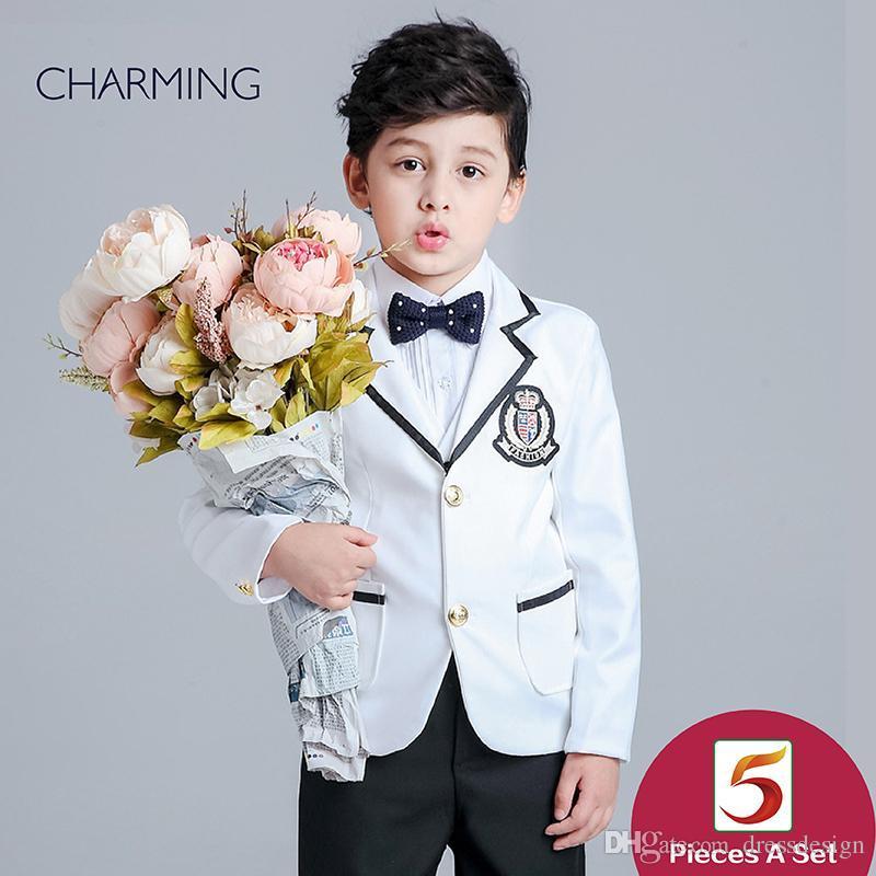 Marca nuovi ragazzi di stile del vestito bianco a maniche lunghe vestito di alta qualità tessuti Boys 3 piece la promozione di sconto vestito da fornitori della Cina
