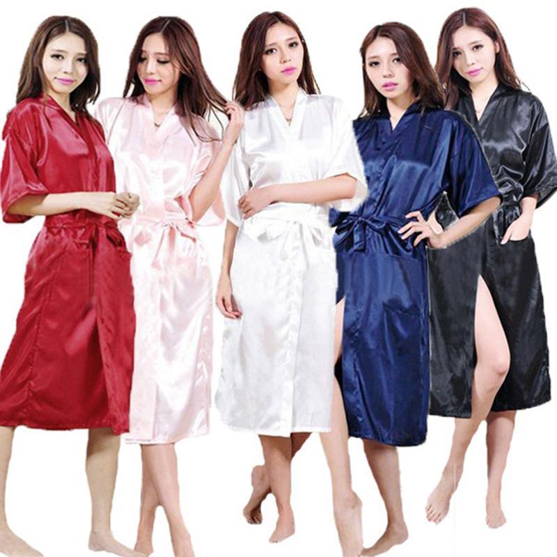 Wholesale- Ladies Satin Robe Dressing Gown Nightwear Kimono Lingerie Silk Vintage Chinese Women Traditional Gown Nightgown Plus Size S-XXXL