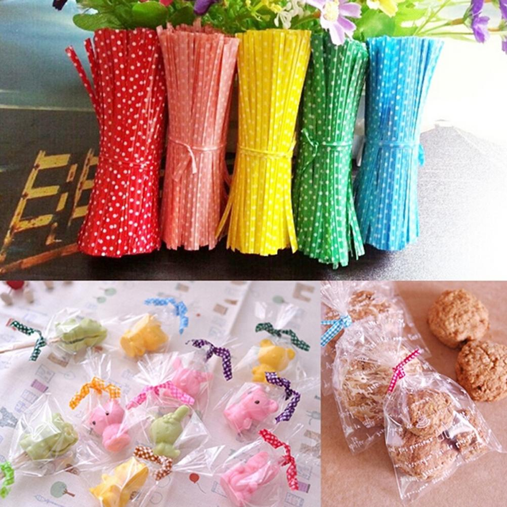 Wholesale- 100Pcs/pack Metallic Dot Twist Ties Wire Cello Bags Lollipop Pack Fastener Sealing For Cake Pops Candy Party Supplies 6 Colors