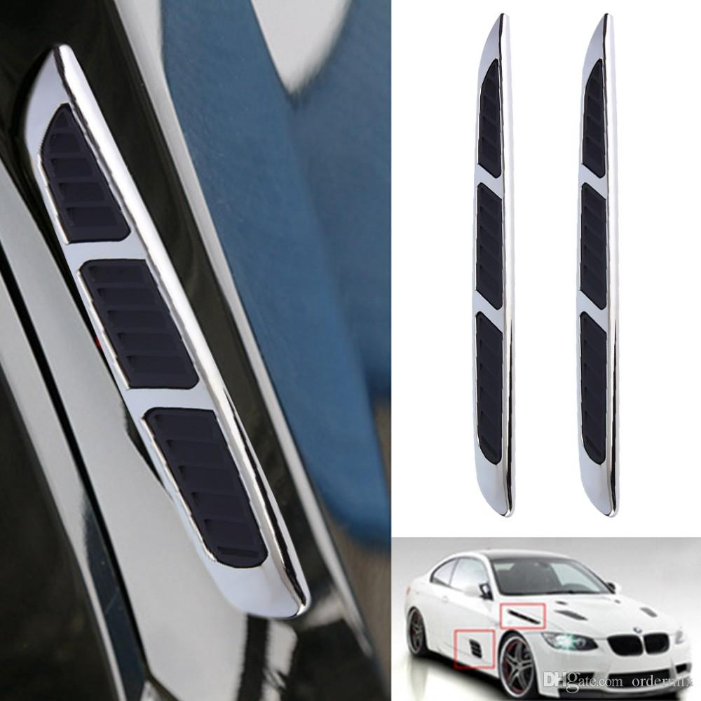 Super 3D Silver Car Chrome Grille Shark Gill Simulazione Air Flow Vent Fender Sticker