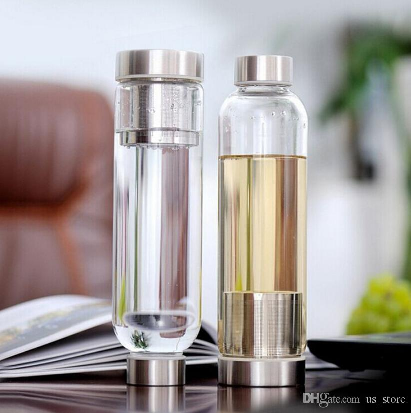 BPA Free Glass Sport Water Bottle with Tea Filter Infuser Protective Bag  A