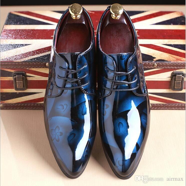 Designer de Moda Vermelho Sapatos de Casamento Dos Homens Nova Chegada Dedo Apontado Sapatos de Couro de Patente Homem Plus Size 12 13 Sapatos de Festa Negra Hombre Zapatos