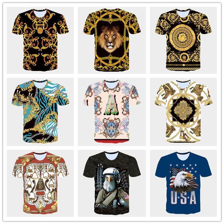 2017 Yaz yeni 3D T Shirt mens tshirt Altın Çiçekler lions mavi şerit mektup Amerikan ABD bayrağı Kartal baskılı erkek Kısa Kollu T-Shirt