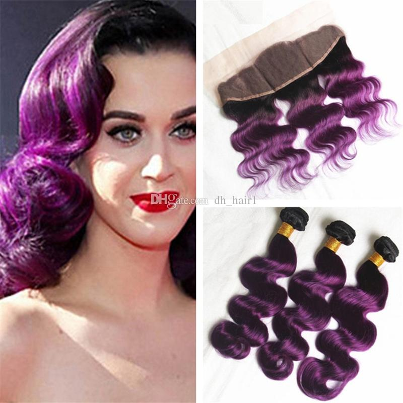 Virgin Malaysian Ombre Body Wave Hair Weaves With Lace Frontal Ear To Ear Closure With Bundles Two Tone 1B Purple Ombre Hair 4Pcs