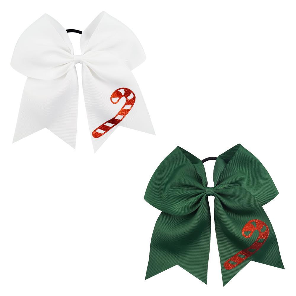 10 Pcs 7 Inch Jumbo Cheer Bows Ponytail Holder Cheerleading Girls Bow Hair Tie