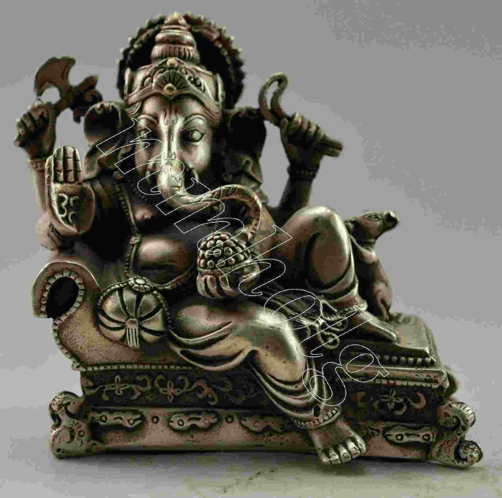 جمع الفضة القديمة لوحة النحاس الهند الثروة الله مستلق تمثال 12x12 سم