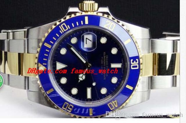 Высокое качество роскошные часы Сапфир 40 мм синий индекс Zifferblatt 116613 автоматические спортивные мужские часы мужские наручные часы оригинальный футляр файл