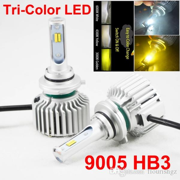 1 Set 9005 HB3 60W 8000LM Tri-color LED Headlight Conversion CSP Chips Golden Yellow White 3000K 4300K 6000K 3 For 1 Bulbs Driving Fog Rain