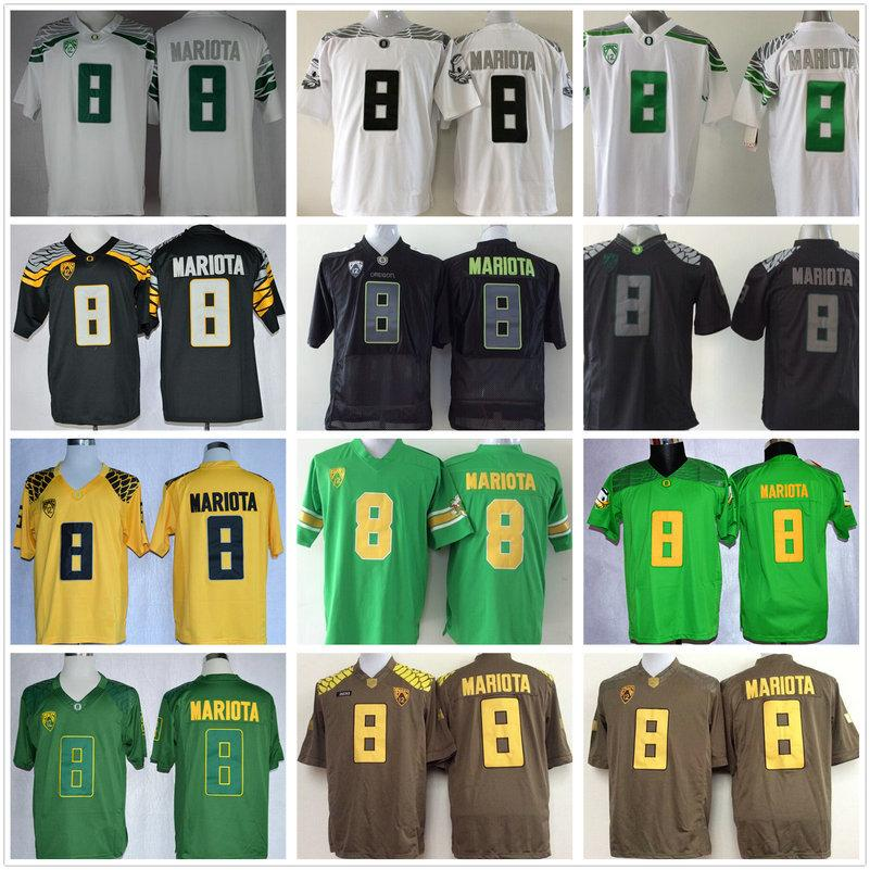 Billig NCAA # 8 Marcus Mariota Jersey College Oregon Enten Fußball Trikots Grün Schwarz Gelb Weiß Nähed Nähendes Hemd