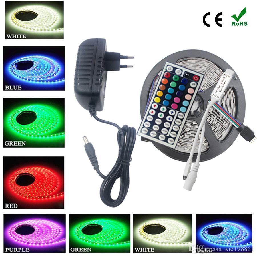 SMD RGB светодиодные полосы rgb светодиодные полосы 5050 5 м 10 м 30 светодиодов / м светодиодные ленты водонепроницаемый RGB диод ленты 44Key ИК-контроллер с DC 12 в драйвер