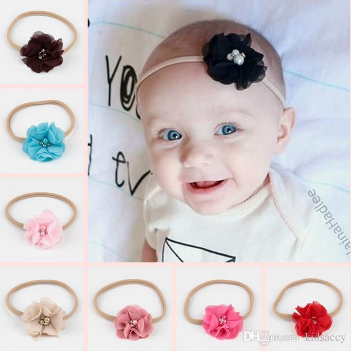Новая Европа Мода Младенец Детские ободки шифон цветок Эластичная повязка для детей Детские аксессуары для волос Hairbands Детям девушки головной убор A122