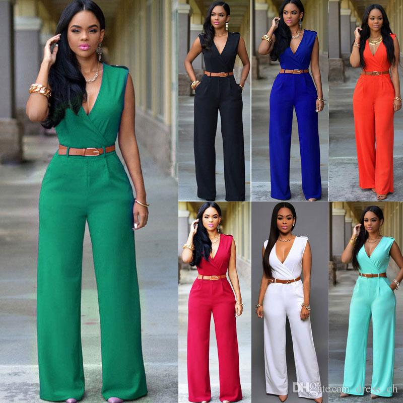 favorable price harmonious colors limited style 2019 Ladies Solid Color V Neck Sleeveless Slim Tunic Cocktail Party Evening  Playsuit Womens Loose Wide Leg Jumpsuit Trouser With Belt From Dress_ch, ...