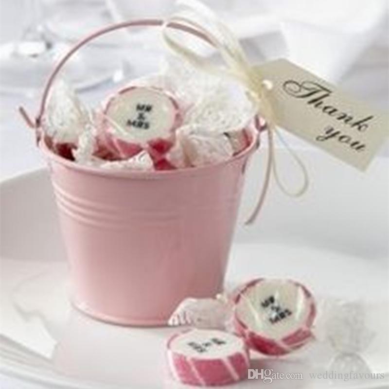 Livraison Gratuite 2pcs / lot! Rose bidons de seaux mini seaux mignons mini seau bonbons boîtes paquet sucré pour la décoration de fête