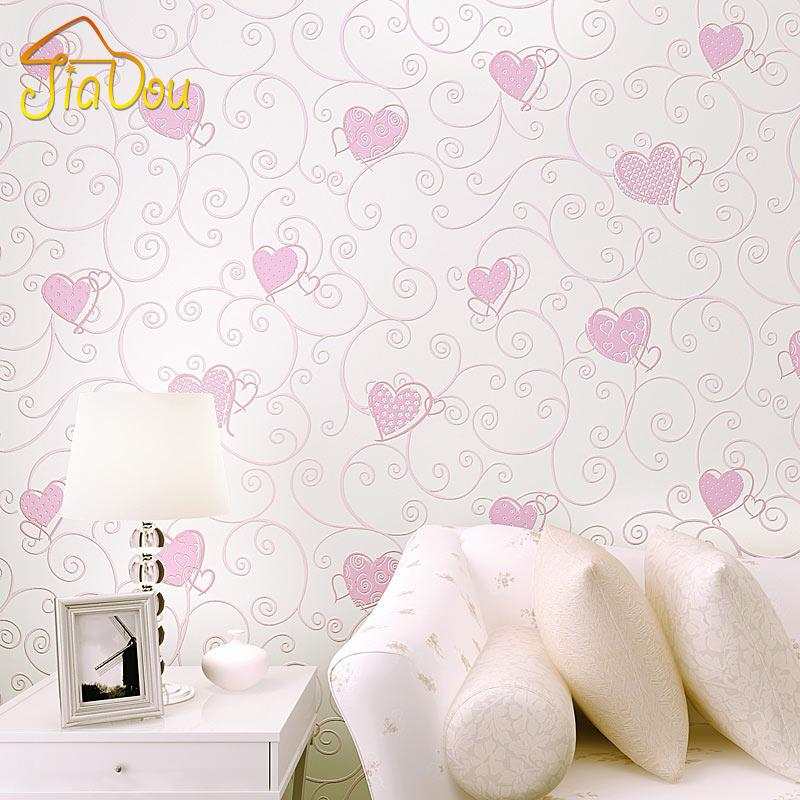 Wholesale-3D Pink Love Heart Cartoon Princess Girl Room Background Wallpaper Roll 3D Embossed Flocking Non Woven Kids Wall Covering Paper