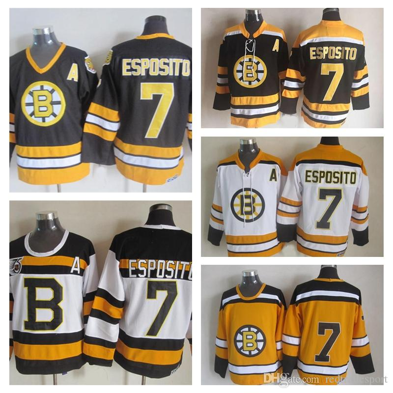 Jerseys de hockey de hockey vintage Boston Bruins # 7 Phil Esposito 75e anniversaire Noir Vintage CCM Phil Esposito Jerseys cousu un patch S-XXXL
