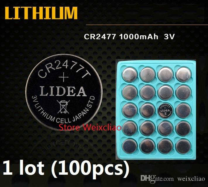 100pcs 1 lot CR2477 3V lithium li ion button cell battery li-ion CR 2477 3 Volt coin batteries tray package Free Shipping