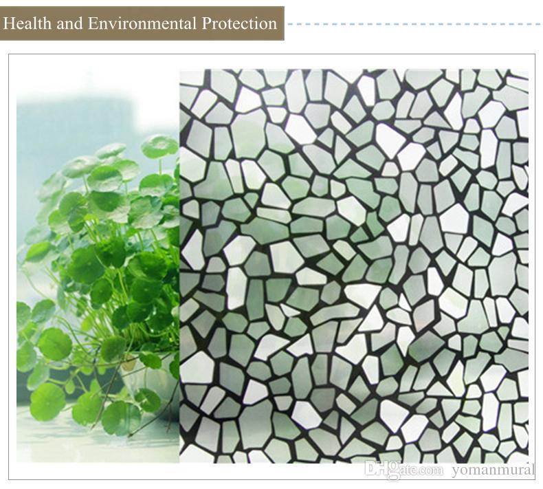45cm * 10m Craquelure vetro elettrostatico Window Film Sticker Decorazione della casa per il bagno Soggiorno Cucina Adesivo Wallpaper
