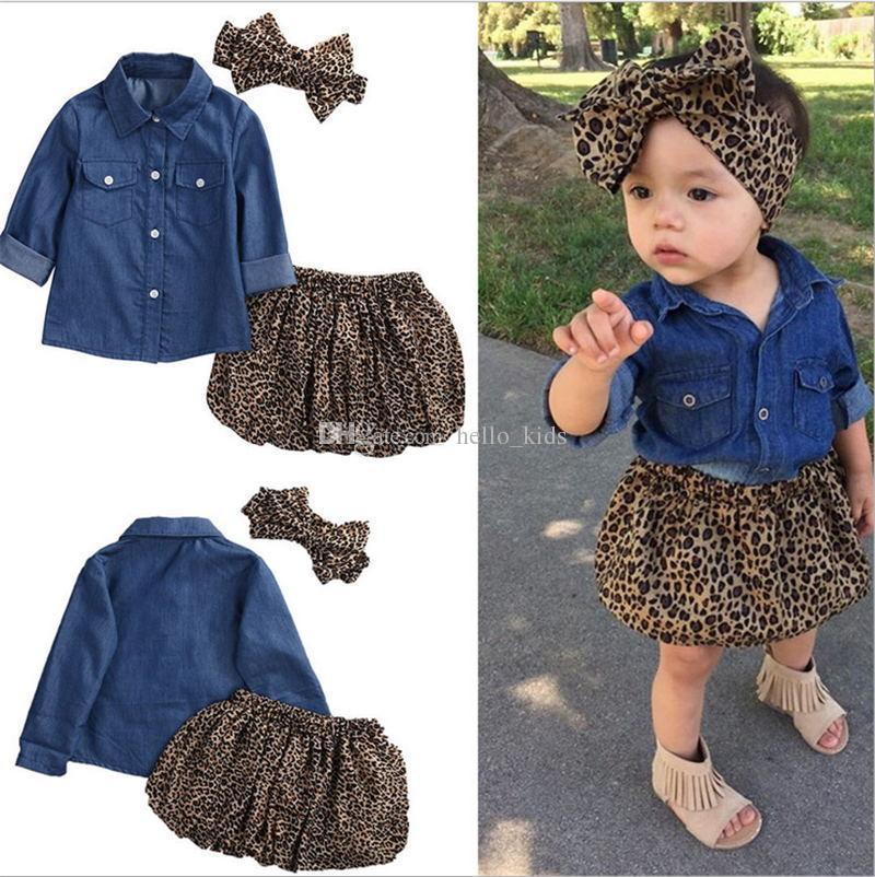 3PCS Set Cute Baby Girls Clothes 2017 Summer Toddler Kids Denim Tops + Leopard Culotte Skirt + Headbands Outfits Niños Niña Ropa Set
