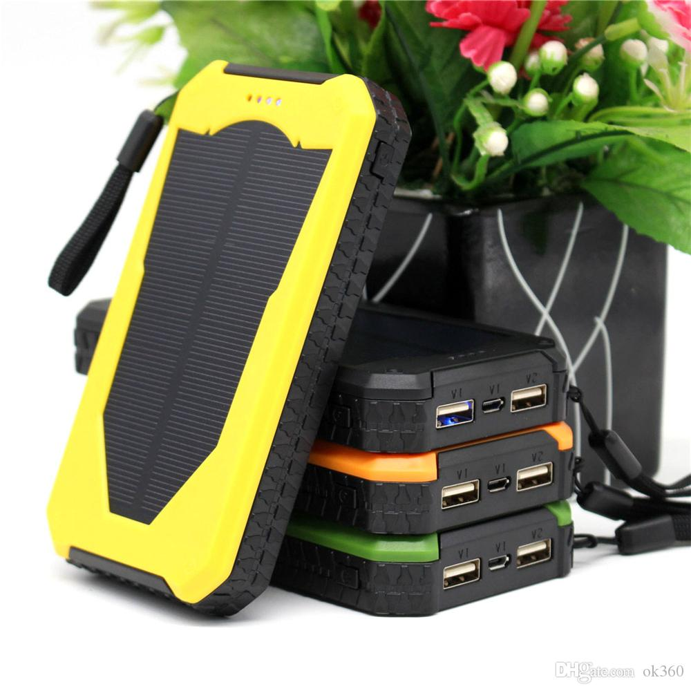 New multi-function Solar power bank with LED camping lamp 12000mah double interface external charger powerbank for Mobile phone
