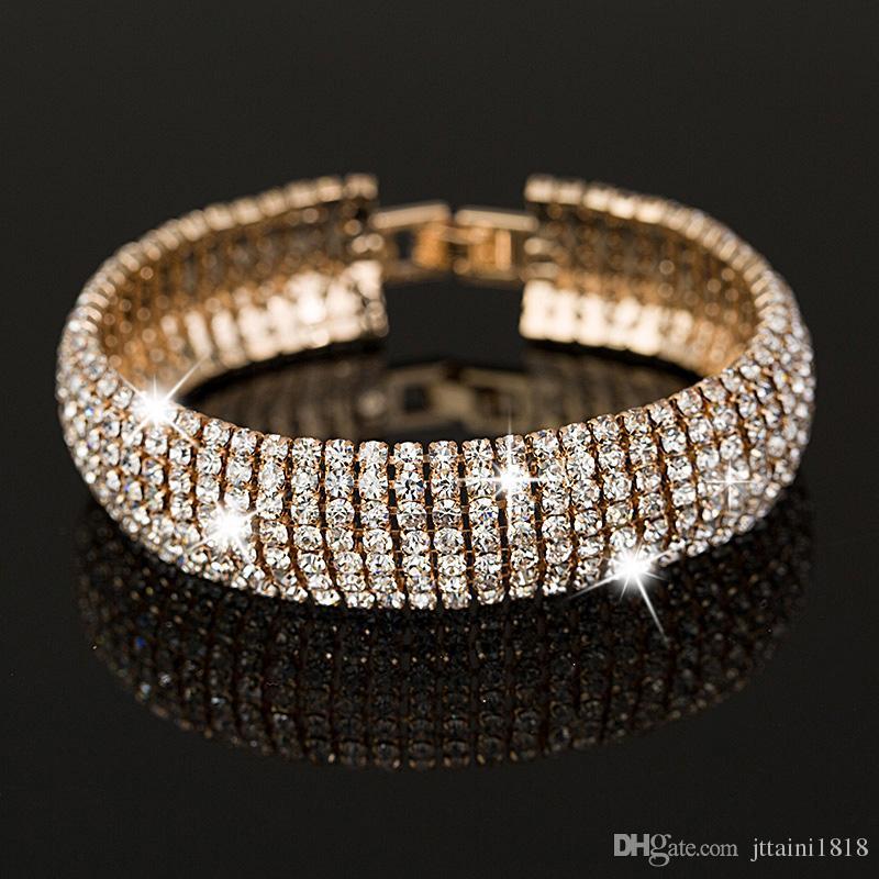 Prezzo di fabbrica Oro e Argento placcato Classic Crystal Pave Link Bracciale Bangle Moda piena di gioielli con strass per le donne