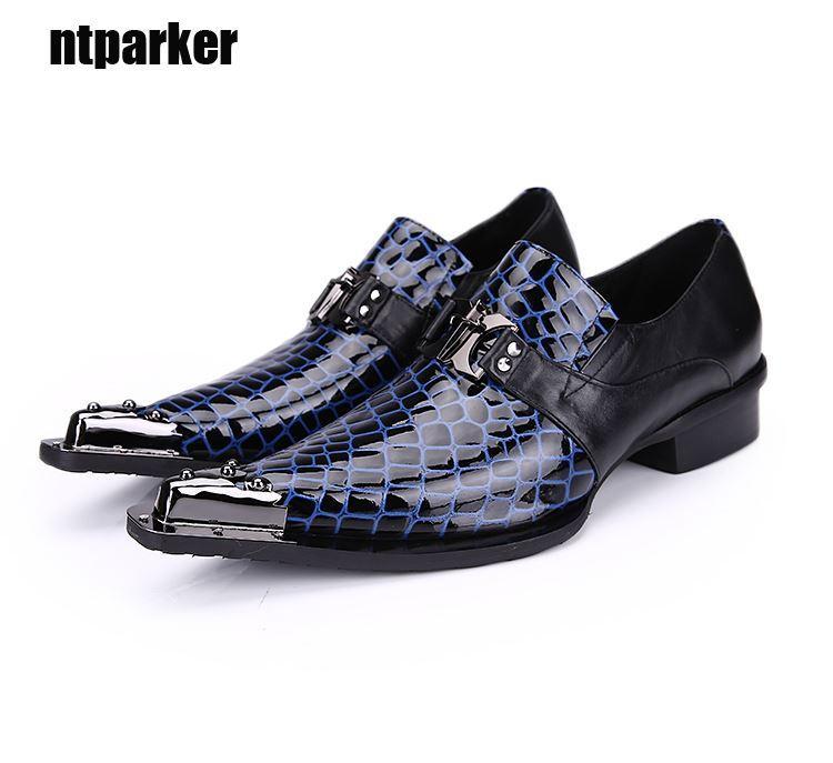 Rock Men Shoes Ponited Toe Scarpe in pelle da uomo Business Dress Shoes for Man Party e Wedding zapatos de hombre, Big Sizes EU38-46!