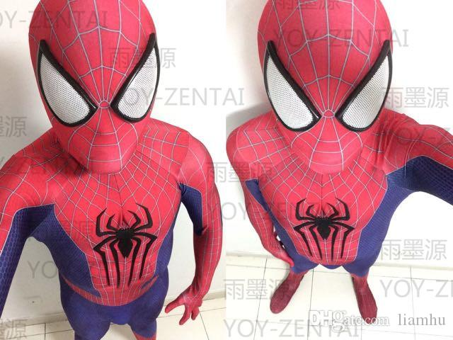 High Quality 2017 New The Spider-Man Superhero 3D Printing Costume+Sole Fullbody Spiderman Adult Halloween Costumes for Men
