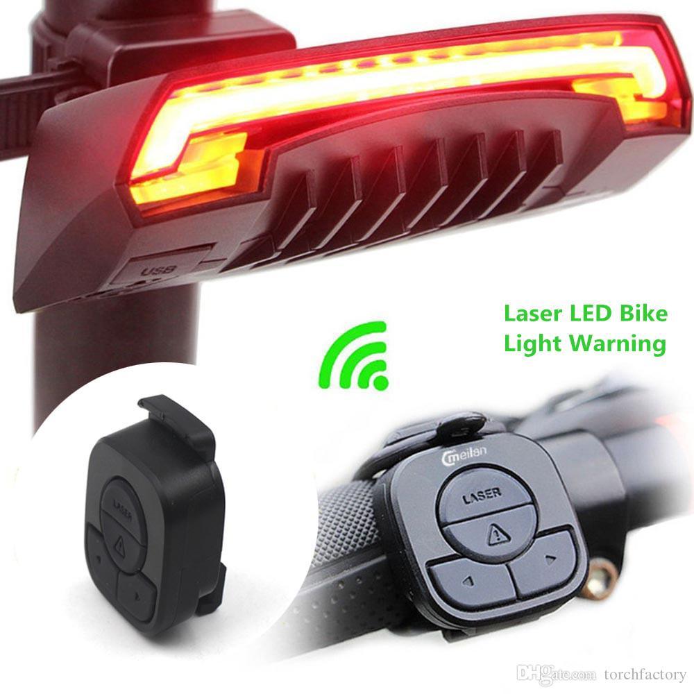 X5 Smart Fahrradrücklicht Fahrradlampe Laser LED USB Wiederaufladbare Drahtlose Fernbedienung Drehen Radfahren Fahrrad Licht