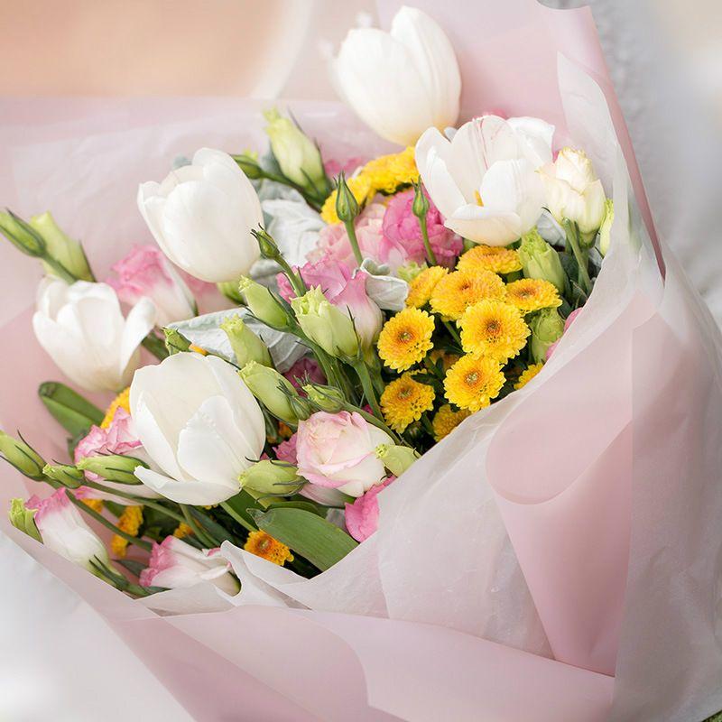Korean Flowers Waterproof Paper Packaging Gift Wrapping Solid Color ...