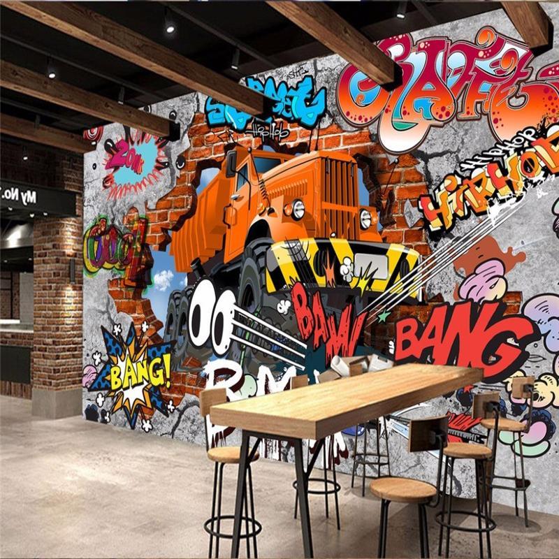 الجملة-- 3d ستيريو خلفيات الرجعية الحنين كونتيننتال جدارية خلفية غرفة المعيشة التلفزيون خلفية جدارية 3d الطوب سيارة كتابات ورق الحائط