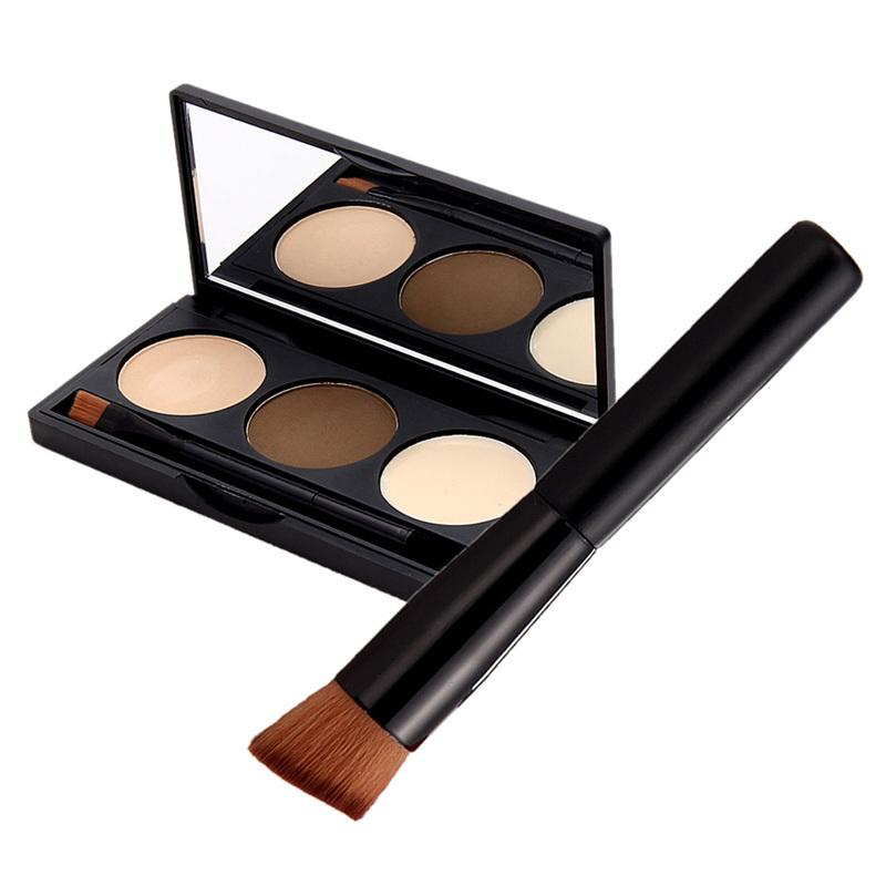 Wholesale- Fashion Beauty Cosmetic Makeup Kit 3 Colors Eyebrow Powder Eye Brow Palette Mirror Brush High Quality Free Shipping