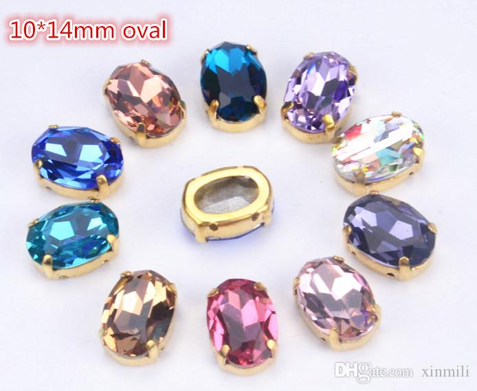 Highest quality crystal beads 30pcs/lot 10x14mm oval K9 crystal sew on stones buttons with gold claw for diy shoes/bags