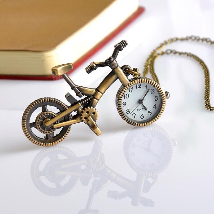 Retro mini bici bici bici da disegno vintage bici vintage orologio da tasca con pendente con gioielli a catena gioielli ragazzo ragazza regalo