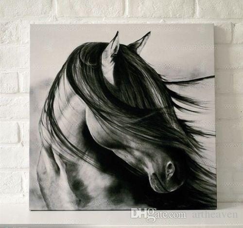 Framed black white horse,High Quality Genuine Hand Painted HOME WALL DECAR Abstract ART oil Painting On Canvas Multi size Free Shipping