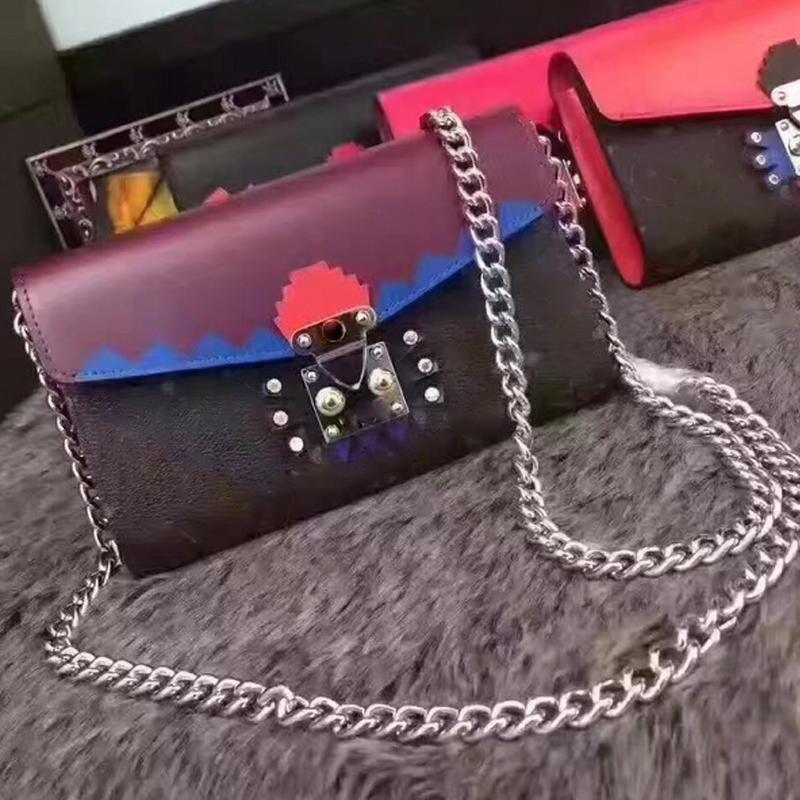 Mulheres cadeia de bolsa de couro genuíno crossbody sacos de ombro famosa impressão monstro saco designer de bolsas de alta qualidade marcas de embreagem de couro real b