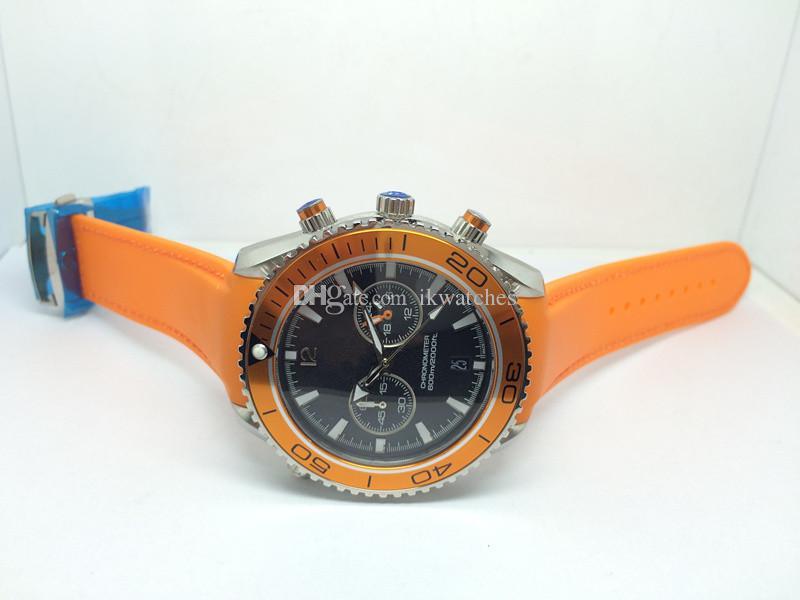 Neue Art und Weise Mann-Uhr-Quarz-Uhren Quarz Stoppuhr Orange Lünette Edelstahl Armbanduhr Gummiband 313