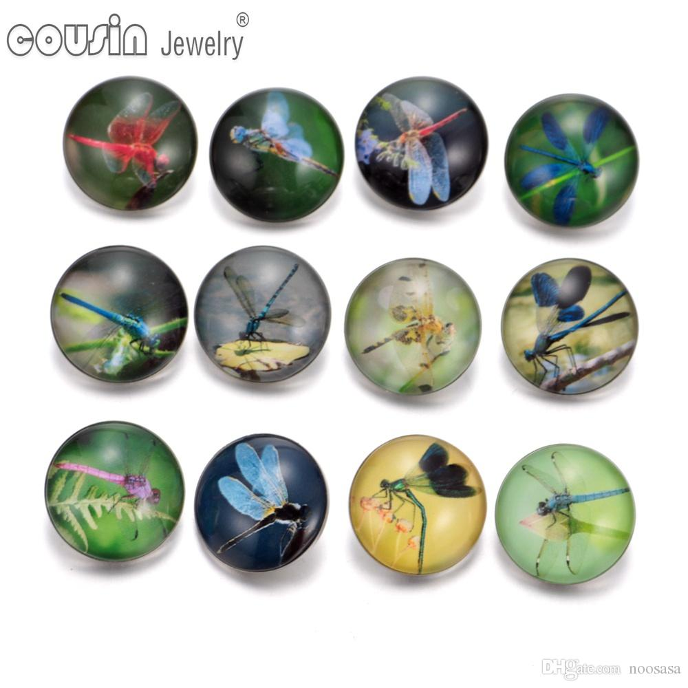 Wholesale 12pcs/lot Mixed styles 18mm snap button Jewelry dragonfly glass Snap Fit snap Bracelet Jewelry KZ0245