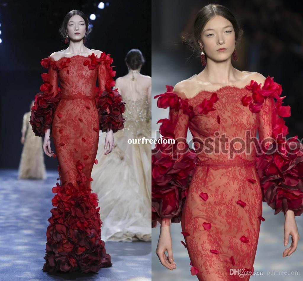 2019 Modal Elie Saab Red Abendkleider Weg Von Der Schulter 3D Flora Appliques Meerjungfrau Spitze Formale Prom Party Kleider Nach Maß
