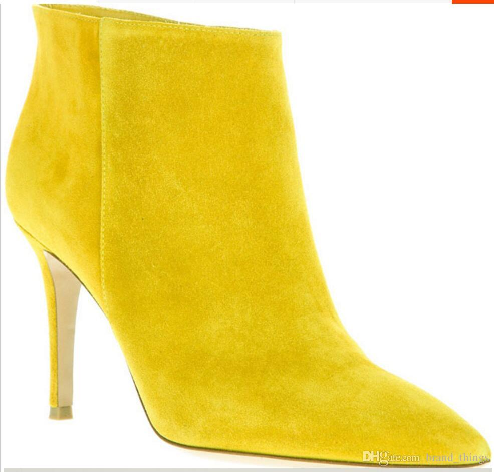 2017 women ankle boots suede leather booties thin heel point toe party shoes mujer botas ladies fashion style low heel walking boot