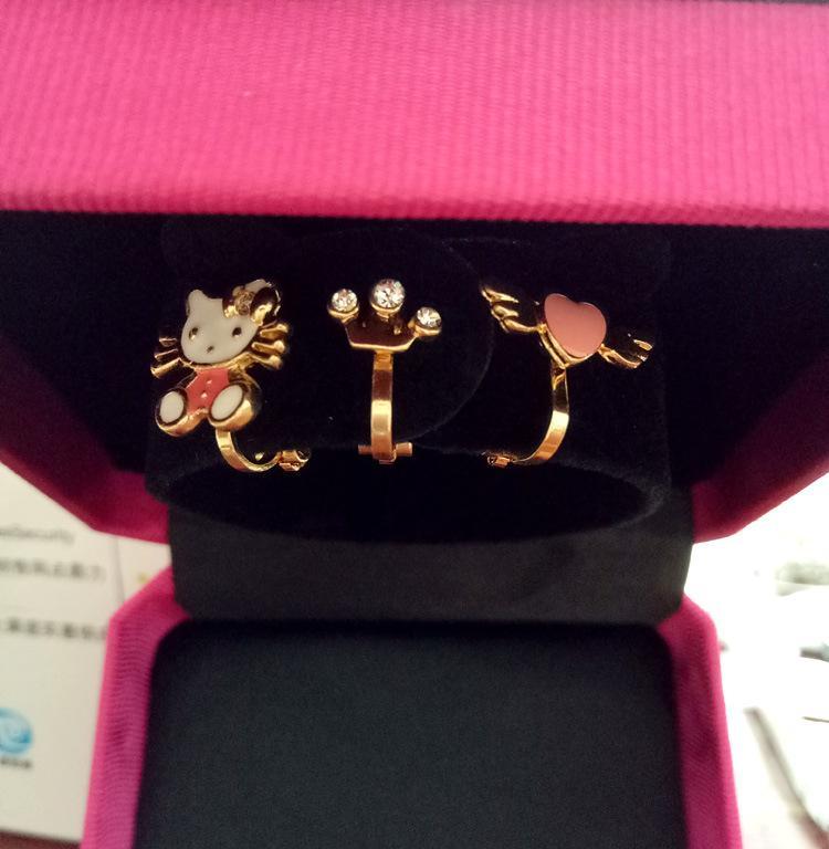 3Pcs/Lot Amader Korean Jewelry Lovely Cat Crown Heart Earrings Golden Padded Ear Clips Ear Cuff Ornaments No Pierced